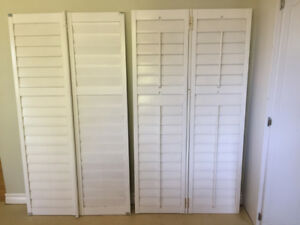 3 White Wooden Shutter Sets
