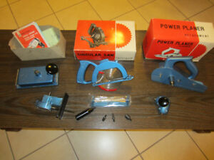 4 Vintage Attachment Tools for Hand Drill, i/c Saw, Planer, etc.