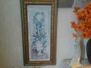 Decorative gold wooden frame picture of urn of flowers. 5.00