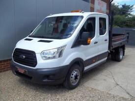 £ 74 A WEEK - 2015 FORD TRANSIT 2.2 DOUBLE CREW CAB 123HP 7 SEAT TIPPER TRUCK