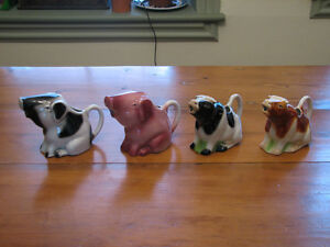 Vintage Tony Wood Studio Pottery Creamers, Jugs Farm Animals
