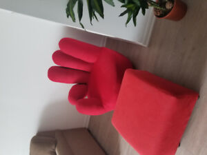 Red hand chair And foot rest /ottoman beautiful