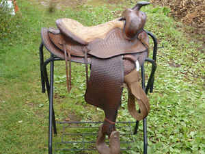 15 IN WESTERN SADDLE WITH BASKET WEAVE DESIGNS