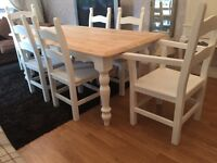 Gorgeous 6ft Shabby Chic Oak Farmhouse Table and 6 Lovely Chairs Inc Two Carvers