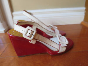 Cole Haan Cream and Red wedge sandals with buckle, size 6.5B