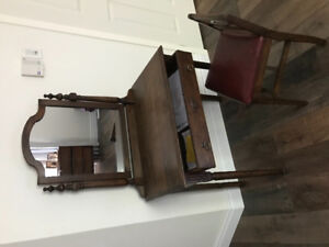Antique vanity with chair