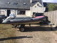 4m Avon rib boat and trailer
