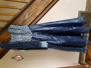 Blue and silver full length prom dress