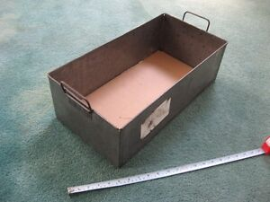 Industrial Look Steel Inventory Storage Bins w Handles Used