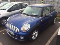 "MINI ONE D PEPPER PACK HATCH 1.6 3 DOOR 2013 ""13"" REG 56,000 MILES F.S.H. BLUE"