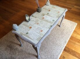 Solid wood glass top coffee table