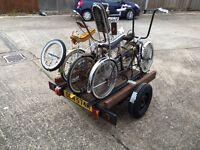Unique 3 bike carrier Spring suspension trailer