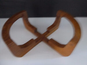 VINTAGE WOOD STAND WITH GLASS INSERT SALAD SERVING BOWL Oakville / Halton Region Toronto (GTA) image 2