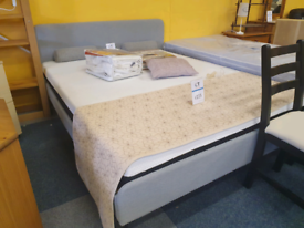 IKEA grey bed with mattress kingsize