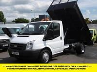 2011 FORD TRANSIT 350/115 SINGLE CAB ONE STOP STEEL BODY TIPPER WITH ONLY 17.000