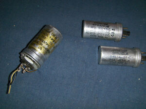 2 SPRAGUE ELECTRICAL CAPACITORS+ MORE-1950'S-VINTAGE!