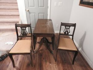 Antique table & 2 chairs