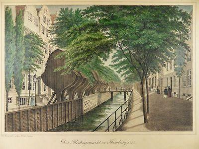 HAMBURG RÖDINGSMARKT PETER SUHR ALTKOL. LITHOGRAPHIE ANSICHT 1842 H22