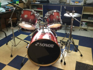 Sonor birch drum kit with cymbals