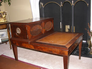 ANTIQUE ENDTABLES - SOLID WOOD, LEATHER TOP, BRASS ACCENTS
