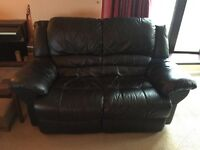 Soft Black Leather 2 Seater Sofa