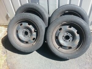 ALL SEASON 205/60/16 TIRES AND FORD FACTORY RIMS WITH SENSORS