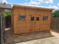 14X10FT PENT GARDEN SHED HEAVY DUTY TIMBER T&G EXTRA TALL FULLY ASSEMBLED