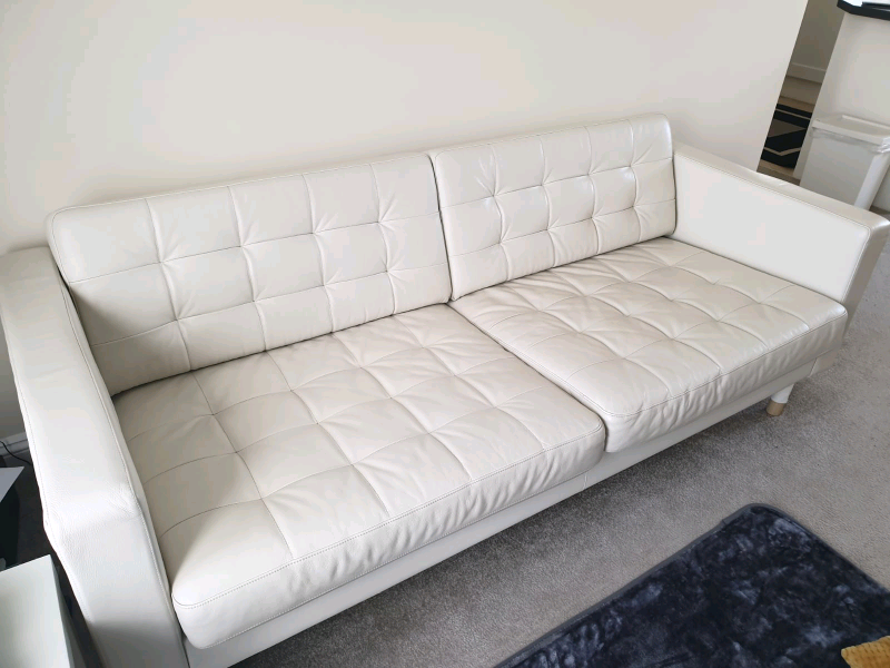 Excellent Ikea Landskrona Off White Cream Leather 3 Seat Sofa In Skegness Lincolnshire Gumtree Gmtry Best Dining Table And Chair Ideas Images Gmtryco