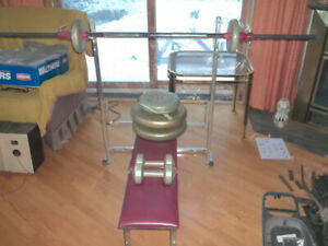 weight bench and bar...weights go with it for free