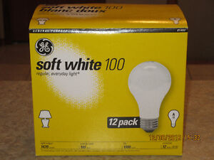100 watt GE soft white incandescent light bulbs - case 36 bulbs