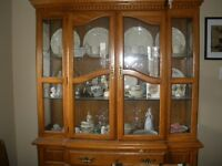 Solid Oak China Cabinet with Bottom Hutch