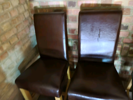 Oak table and 6 faux leather chairs
