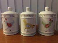 Tea/coffee/sugar storage jars