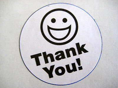 500 Big Thank You Smiley Label Stickers White