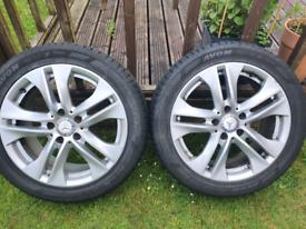 Mercedes original 17 inch wheels x2 and almost brand new Avon winter t