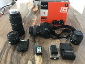Camera Sony A-33 avec lentille zoom et +