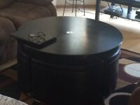 Cosmo Wood Table with Storage Ottomans and Hydraulic Lift Top