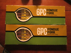 2- BOXED 6 PC FONDUE FORKS STAINLESS STEEL 11""