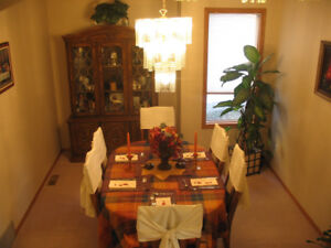 Real Wood Dining Table & Chairs with Hutch