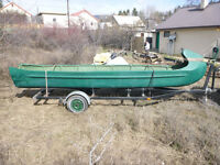 Hand-Built Freight Canoe with Trailer