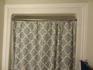 COMPLETE SHOWER CURTAIN ASSEMBLY-NEVER USED