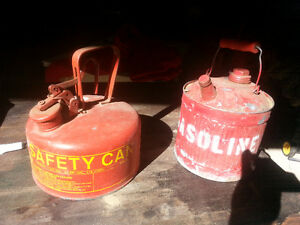 2 old gas cans,,,one hard to find