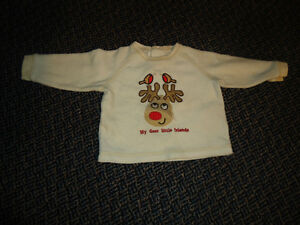 Boys Size 18 Months Red Nose Reindeer Cream Fleece Sweater