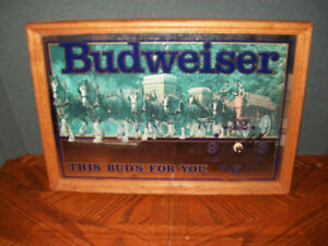 Budweiser this buds for you mirror clock beer sign framed