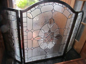 "Stained glass fireplace screen 54"" x 34"""