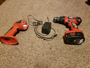 Black and Decker Drill and Flashlight