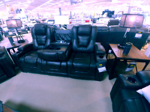 Leather reclining power sofa (NEW)
