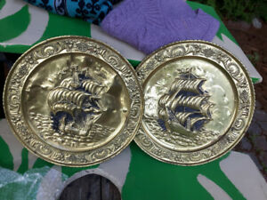 Vintage Brass Wall Hanging Plates, Nautical Ship Theme