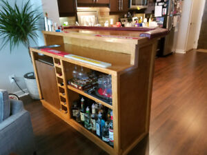 Custom bar w/ mini fridge, ice bin, wine rack, & liquor cabinet