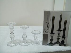 set of 3 clear glass taper candle holders